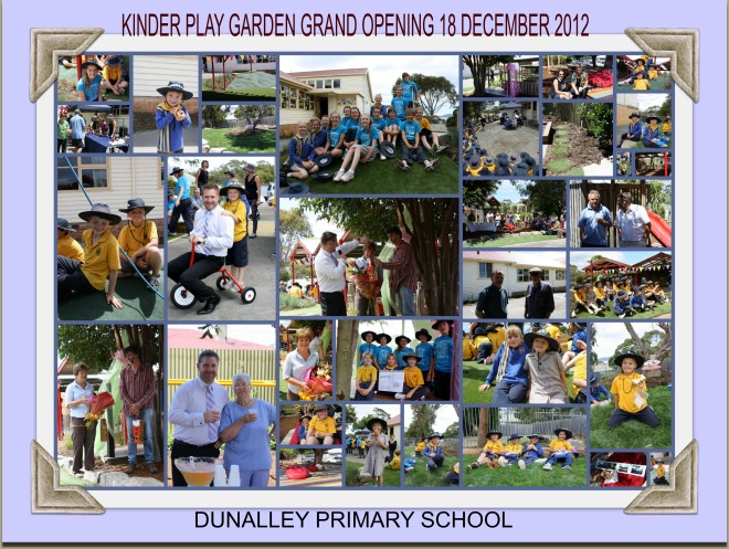 The kinder play garden was completed - thanks to kind volunteers and donations from the community and hard work by the P & F - in Dec 2012, less than a month before it was destroyed.