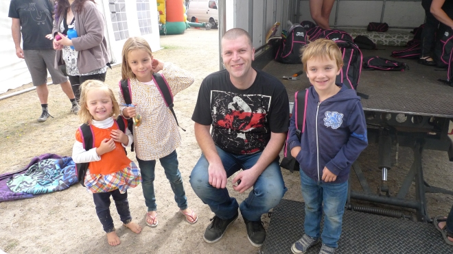 Launceston Bush Fire Appeal Co-ordinator Michael Singline, with some happy care-pack recipients.